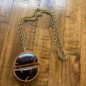 Vintage Estée Lauder perfume compact necklace